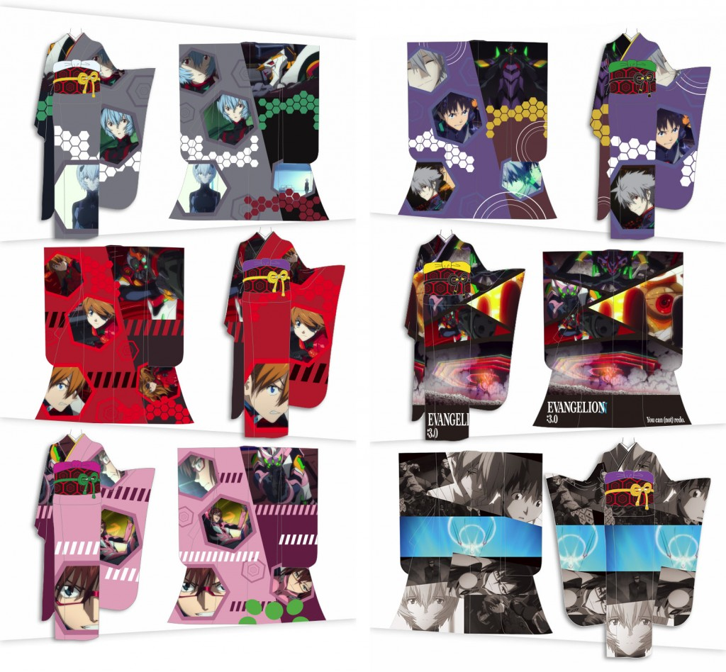 Evangelion Kimono designs designs featuring scenes from Evangelion: 3.0 You Can (Not) Redo